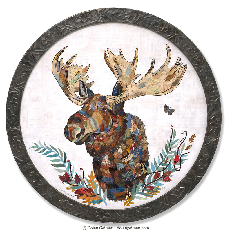 main image for Circular Moose Original Paper Collage Art