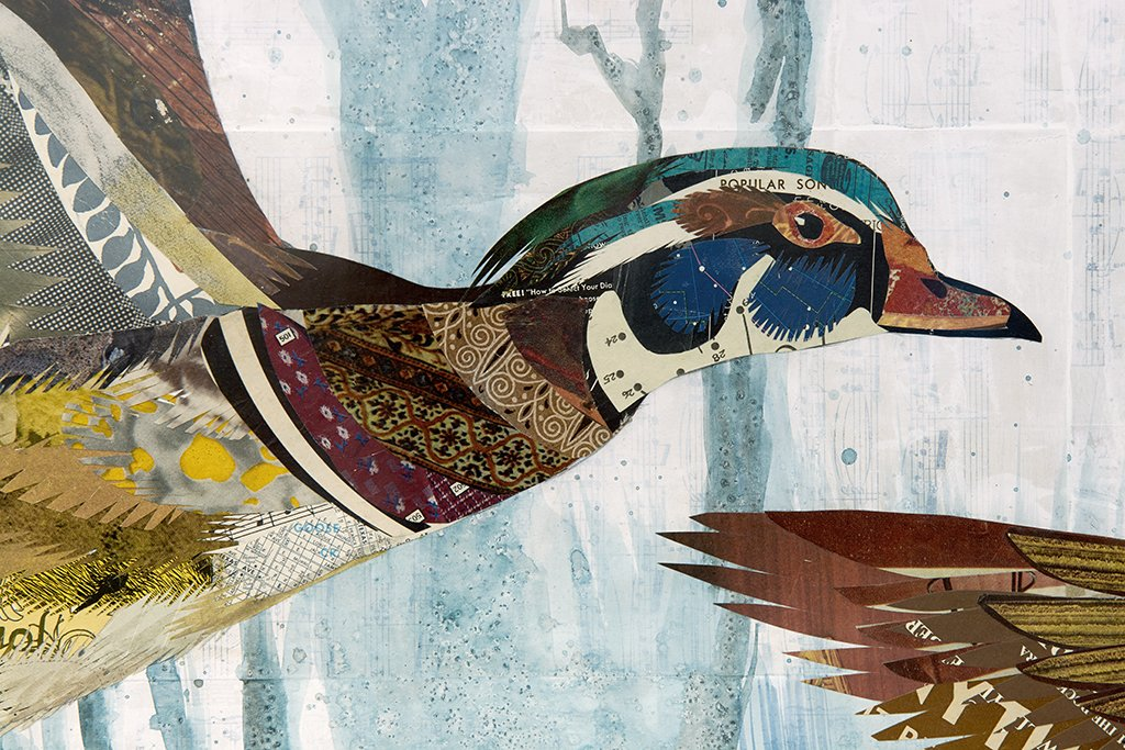 Wood Ducks in Flight Original Paper Collage