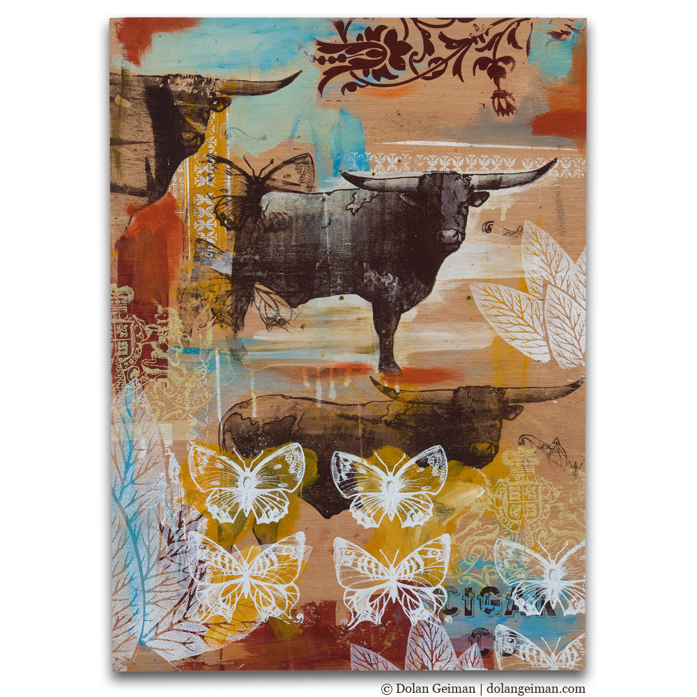 Bulls and Butterflies Wooden Sketchbook Art