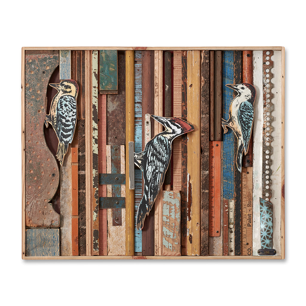 Woodpecker Reclaimed Wood Wall Art