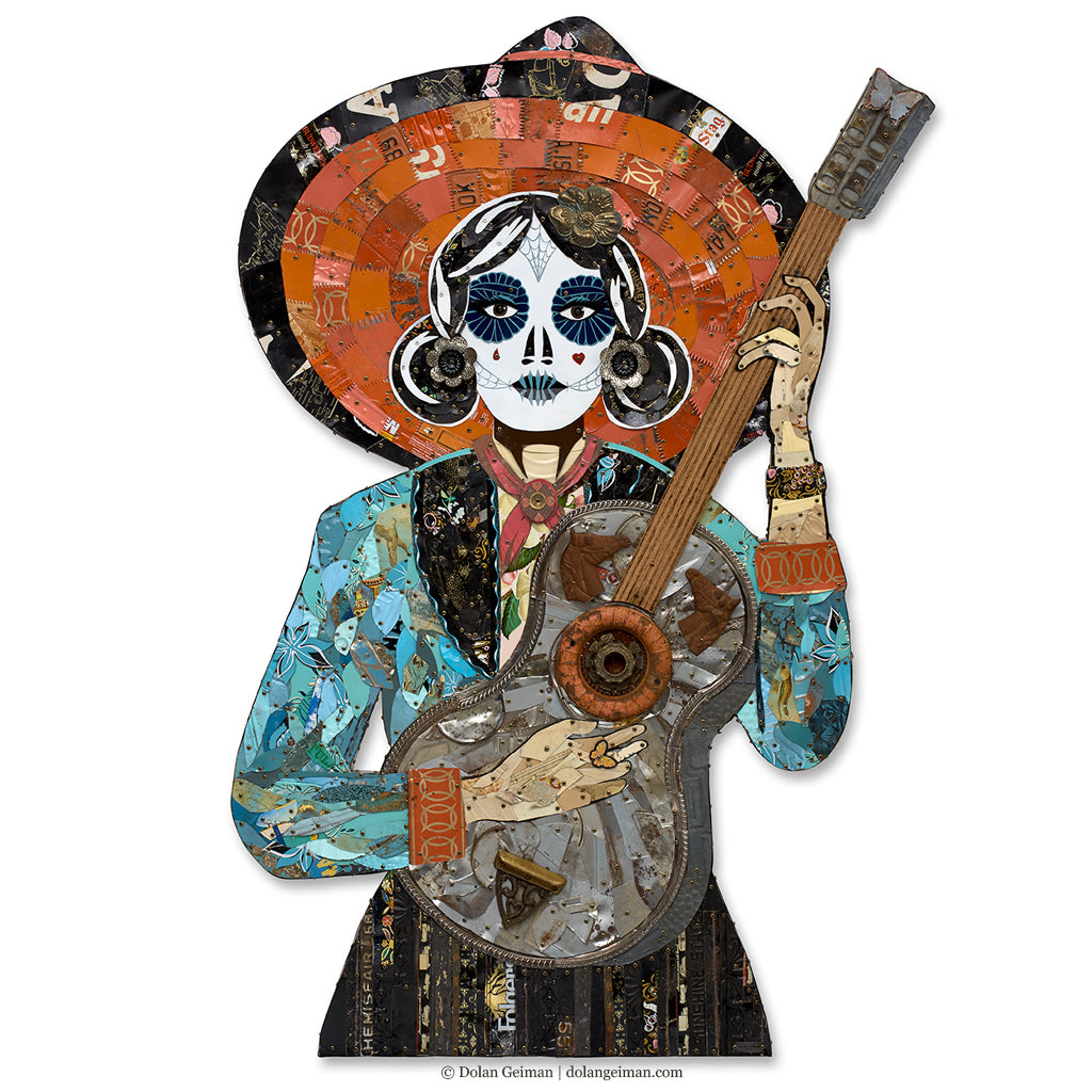 Sugar Skull Guitarist Metal Wall Sculpture