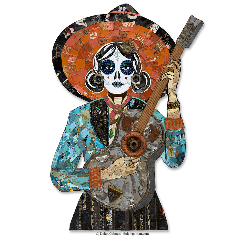 main image for Sugar Skull La Guitarrista Metal Wall Sculpture