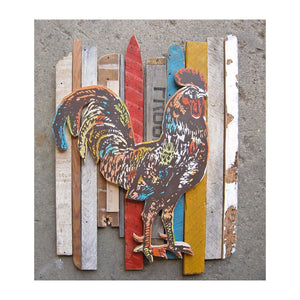 thumbnail for Primitive Rooster Rescued Wood Construction