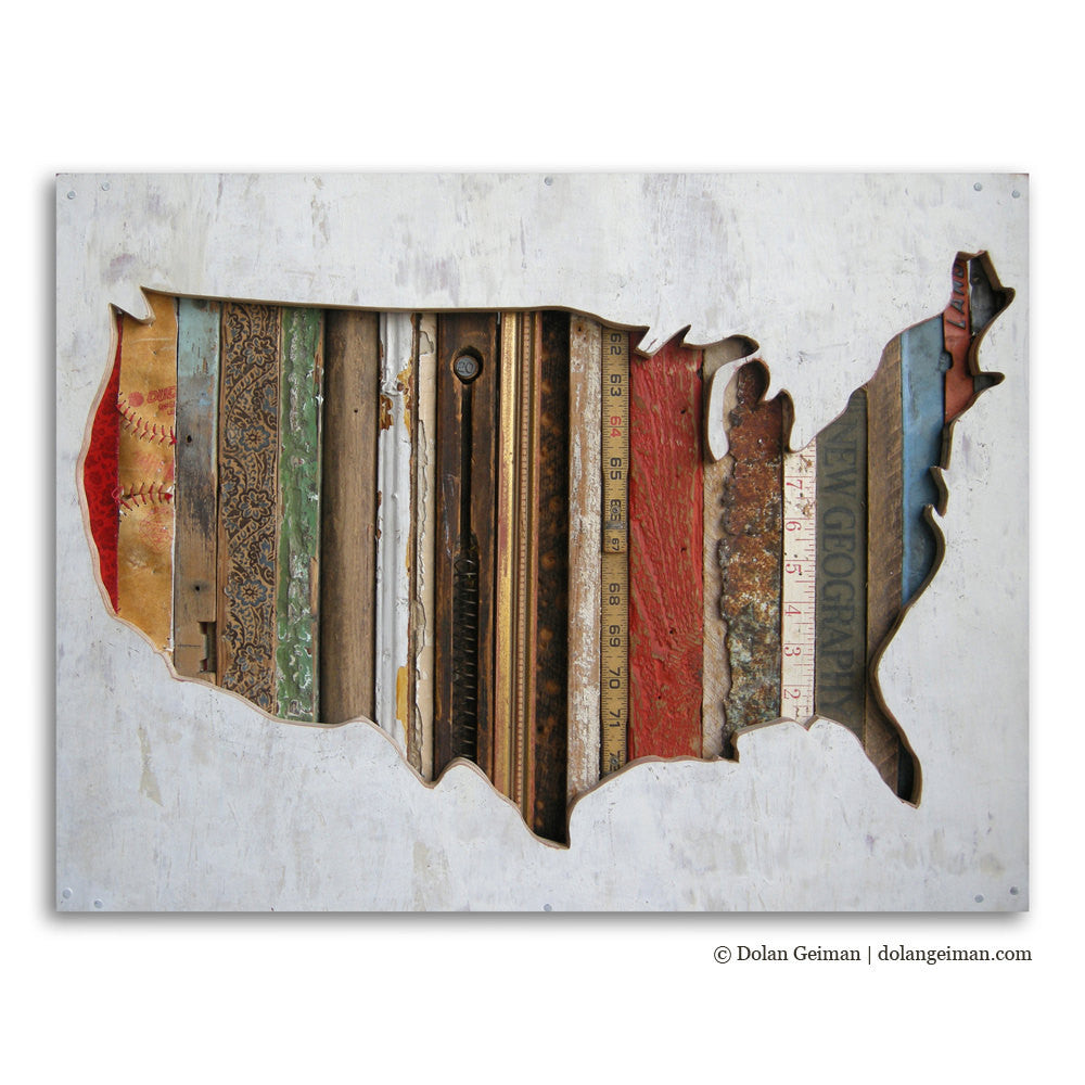 American Souvenir Mixed Media US Map Silhouette