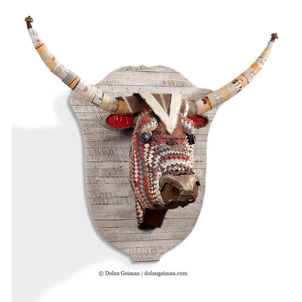 Great Plains Longhorn Faux Taxidermy Metal Sculpture