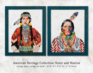 thumbnail for American Heritage Warrior Paper Collage Art