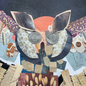 thumbnail for Colorful Owl with Midnight Sky Original Paper Collage
