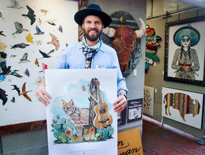 thumbnail for Bobcat with Guitar Original Paper Collage