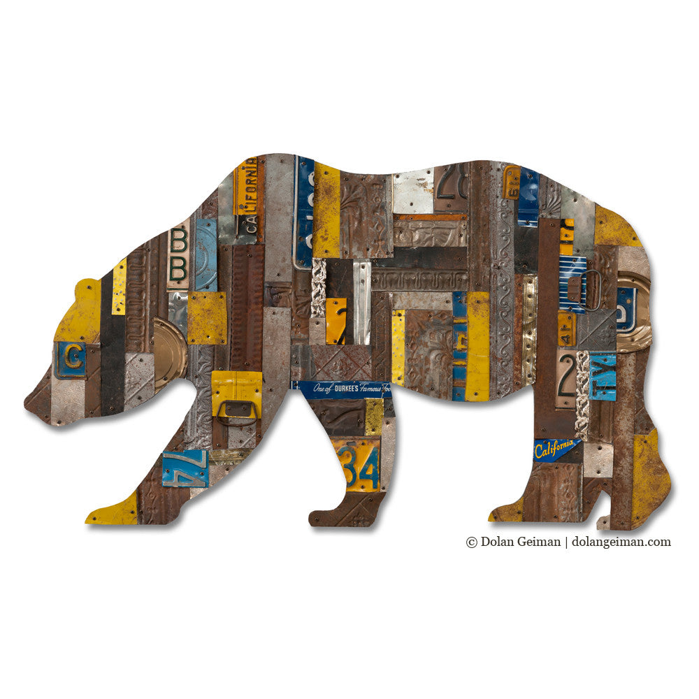 Custom Cal Bear Metal Wall Sculpture