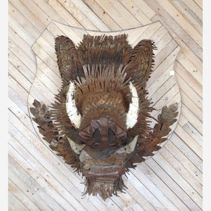 thumbnail for Black Forest Boar Head Faux Taxidermy Metal Wall Sculpture