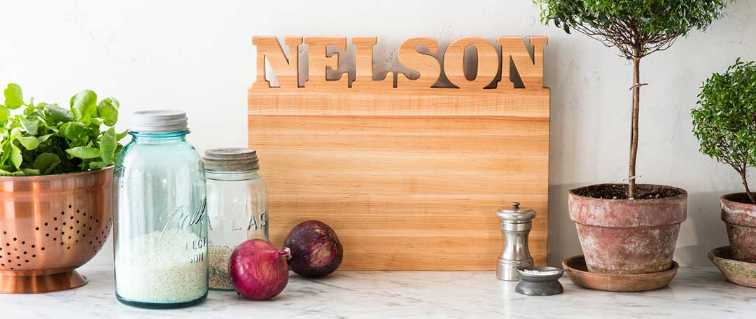 personalized cutting boards on kitchen counter