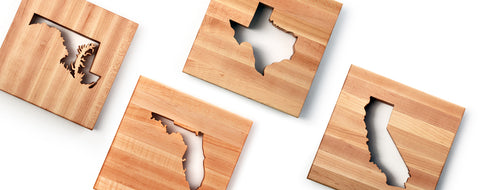Four Wooden Trivets showing Texas, Maryland, Florida and California