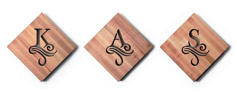 Three Wooden Trivets Personalized with Initials