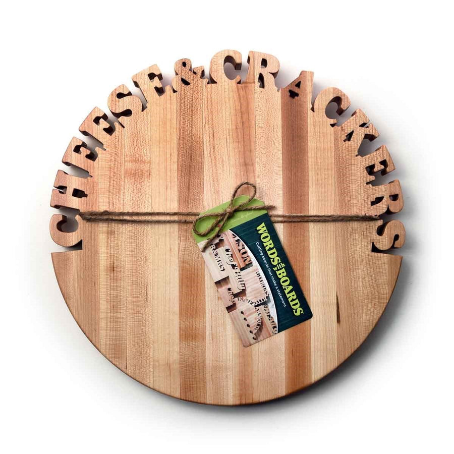Cheeseboard - wooden cheese board - CHEESE & CRACKERS - Words with Boards