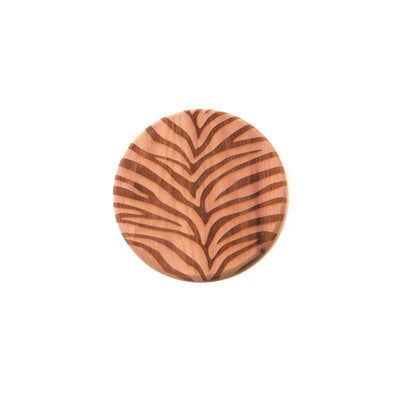 cedar coaster with zebra pattern printed all over