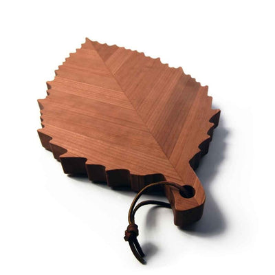 serving board shaped like a cherry tree leaf - 1