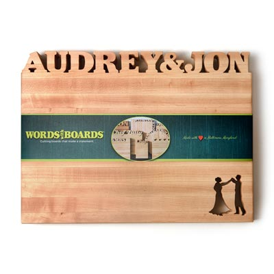 Custom Cutting Boards Wedding, names carved out of maple wood