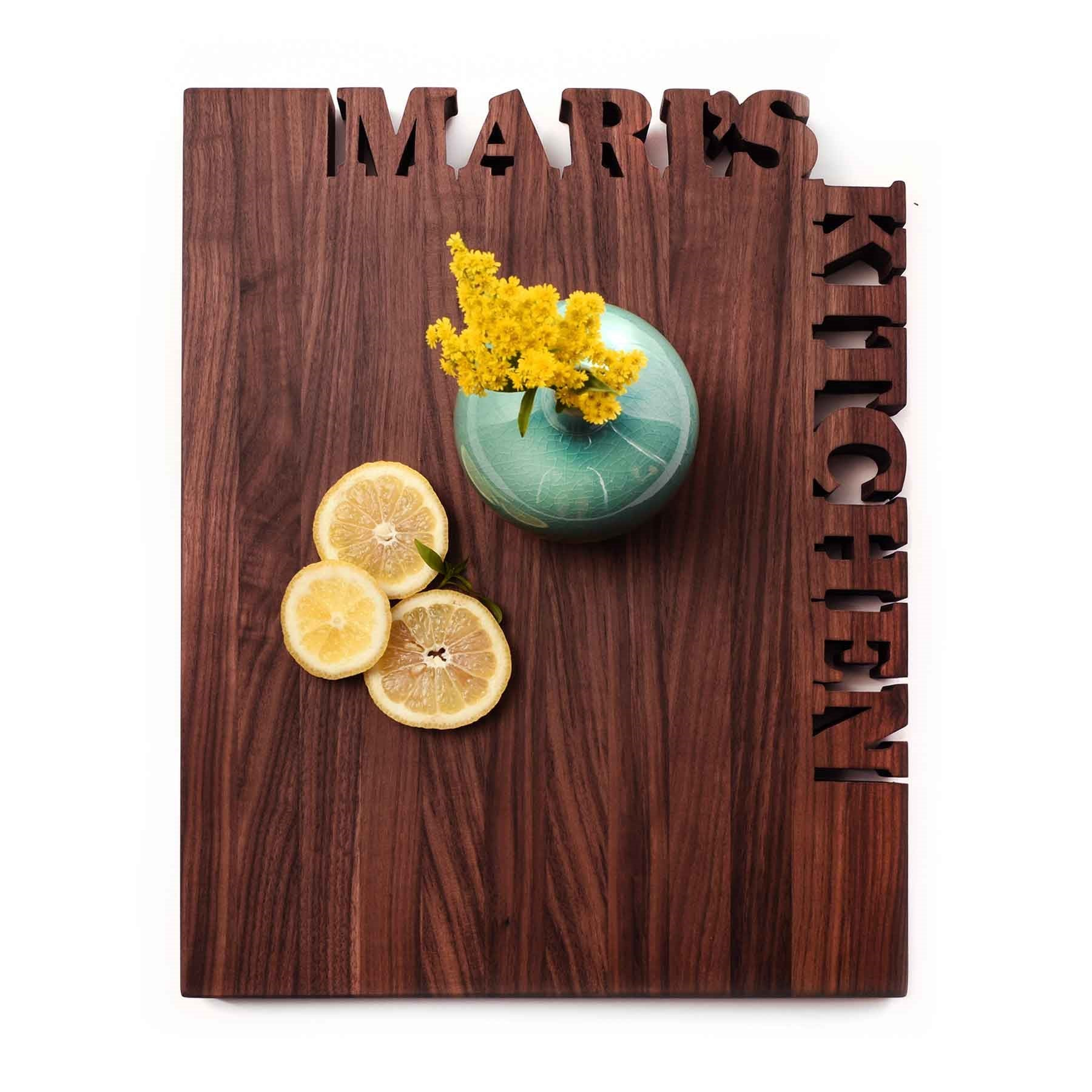 Custom cutting boards, walnut wood with name carved out