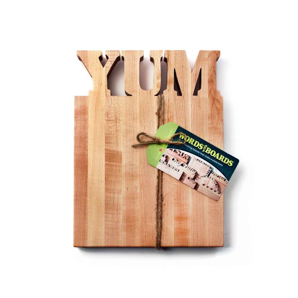 Fun wooden chopping boards -  kitchen cutting boards with YUM - Words with Boards - 1