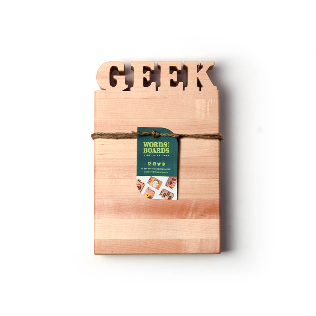geek gifts, wooden cutting board with the word GEEK - bottle opener on back