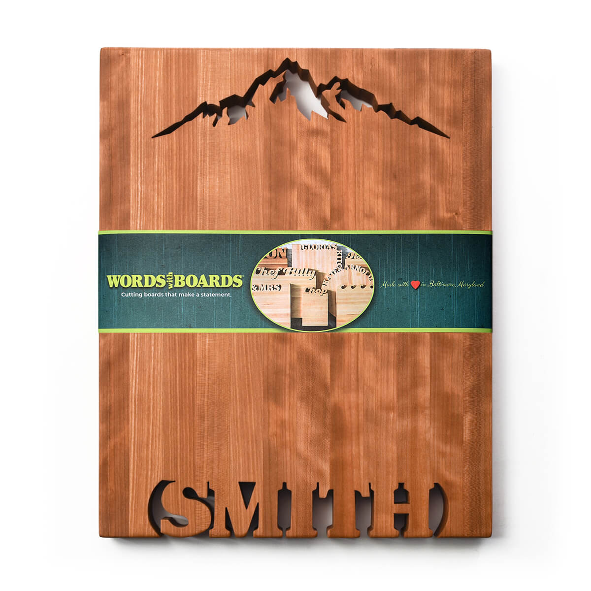 Large personalized cutting board, names cut to of bottom, mountain shape cut out of top