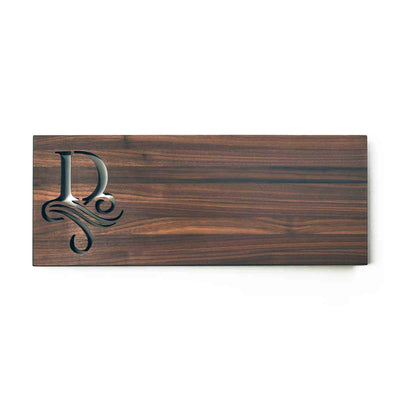 MONOGRAMMED CUTTING BOARD - Single Initial - walnut