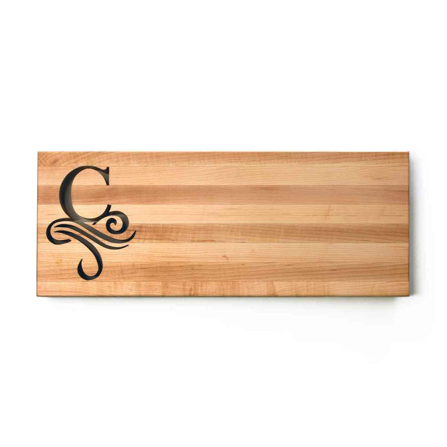 MONOGRAMMED CUTTING BOARD - Single Initial - walnut lifestyle