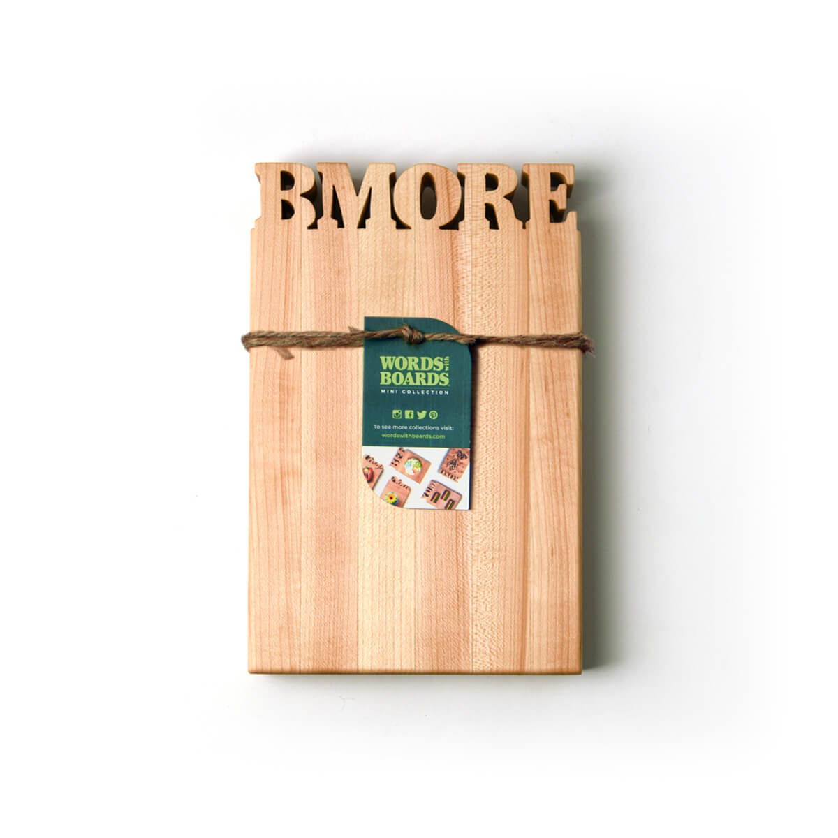 Mini cutting board - wood with the word BMORE cut out of thop- bottle opener