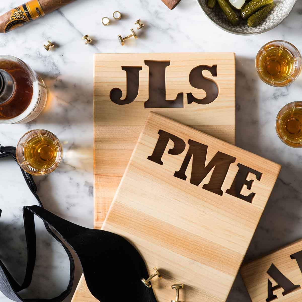 Personalized Gifts For Men - Monogrammed Cutting Board with Bottle Opener