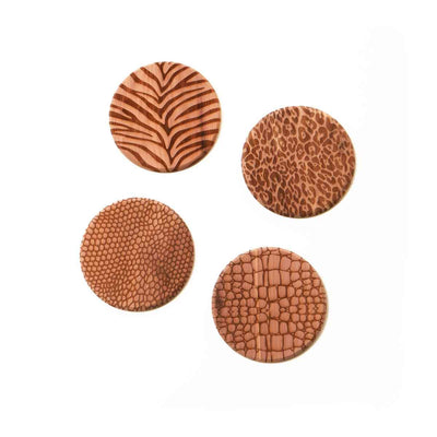 Set of 4 cedar coasters with animal prints