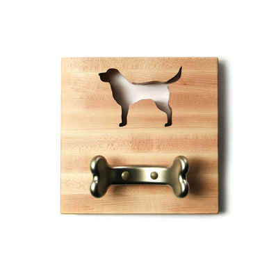 WOODEN DOG LEASH HOLDER with lab shape cut out and bone shaped hook