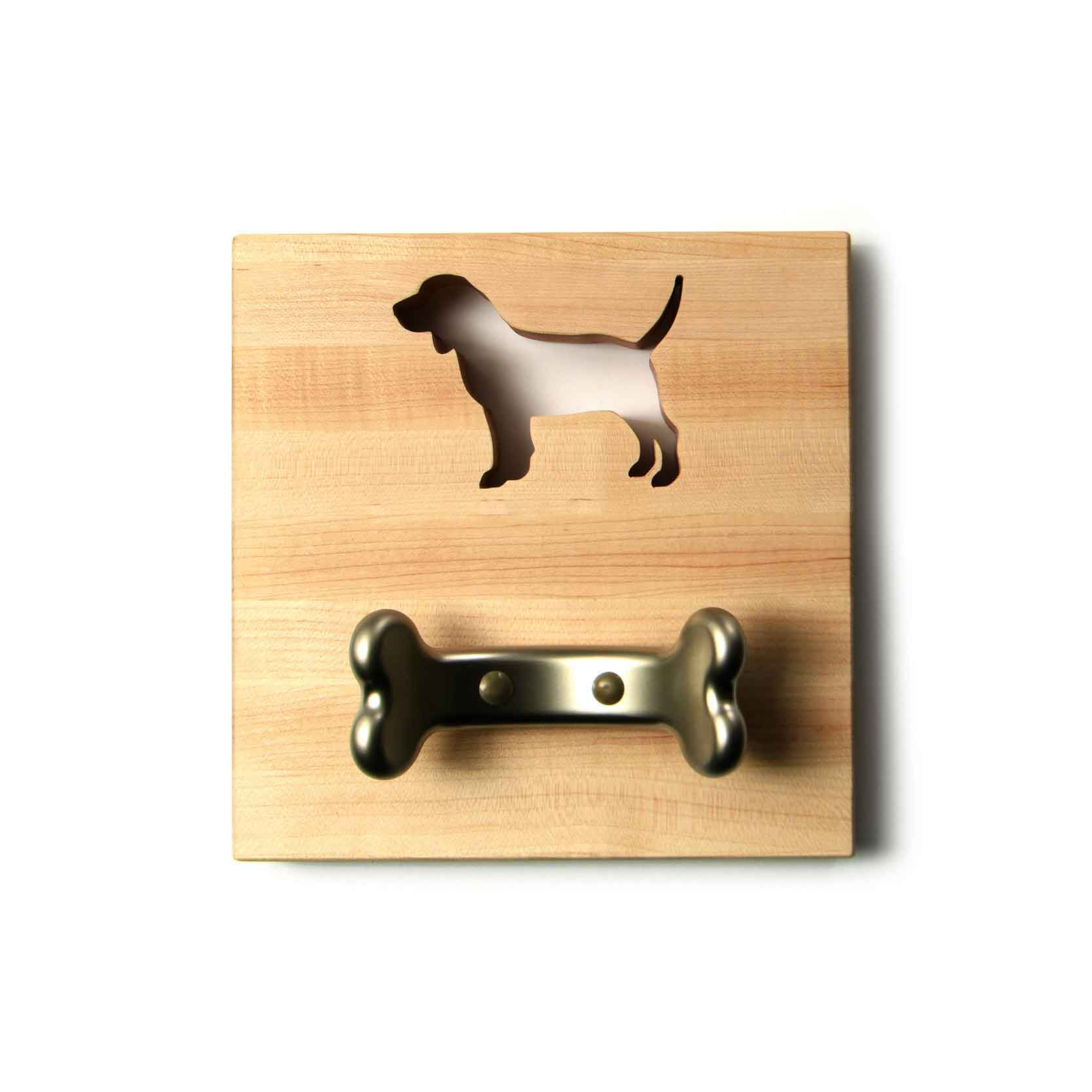 WOODEN DOG LEASH HOLDER with beagle shape cut out