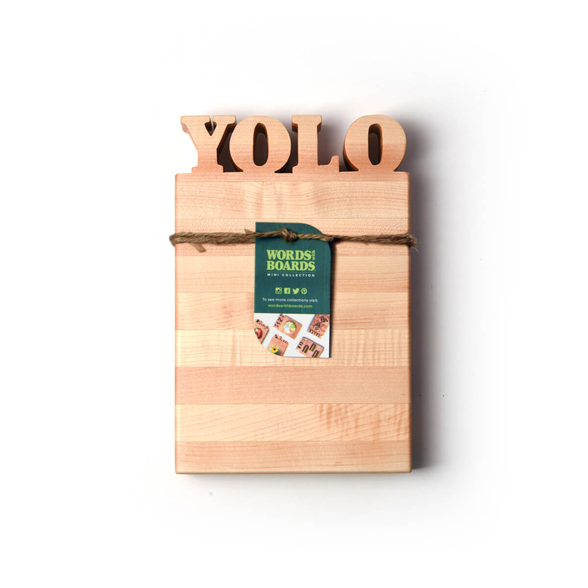 cutting board with the letters YOLO cut out of top-bottle opener option