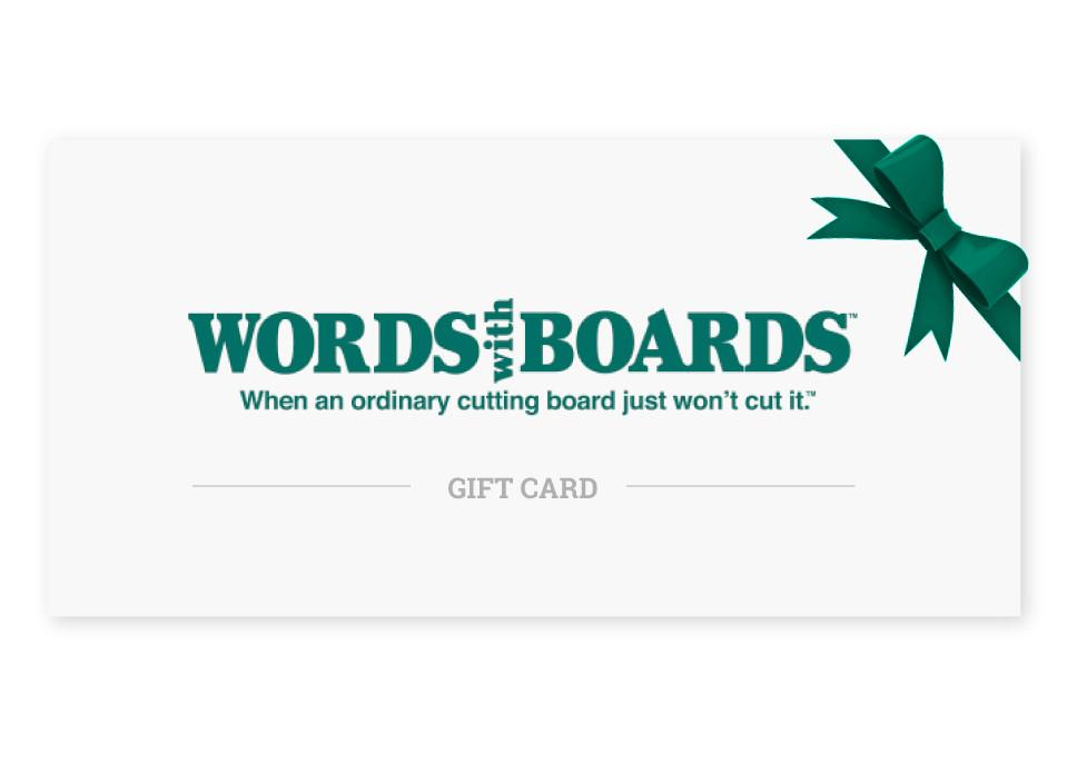 gift card words with boards