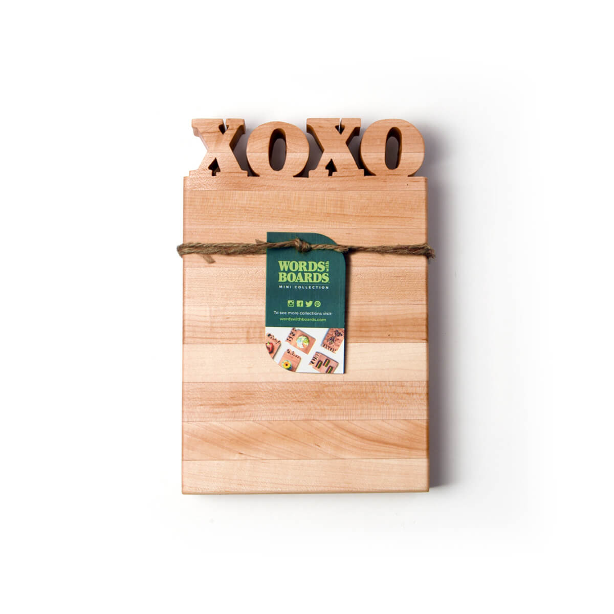 XOXO Cutting Board with food on it