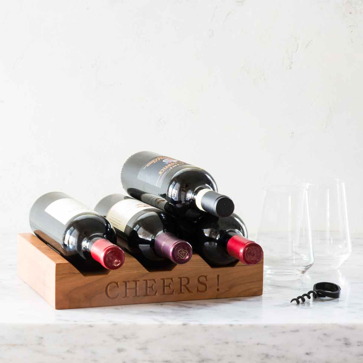 wood wine rack - Cheers! laser engraved in wood