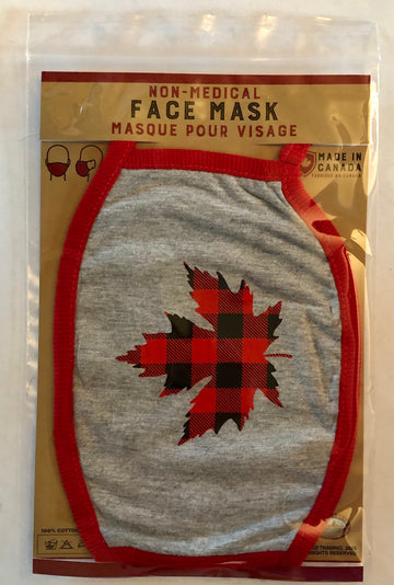PLAID MAPLE LEAF FACE MASK