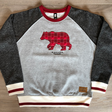 PLAID BEAR CABIN CREWNECK WINNIPEG