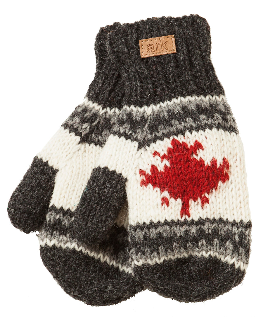 WOOL MAPLE LEAF MITTS