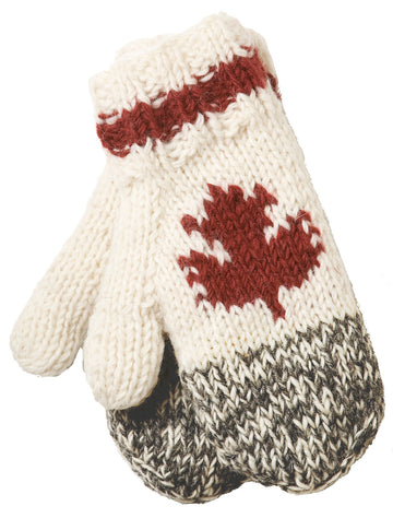 WOOL CABIN KNIT MITT WITH MAPLE LEAF