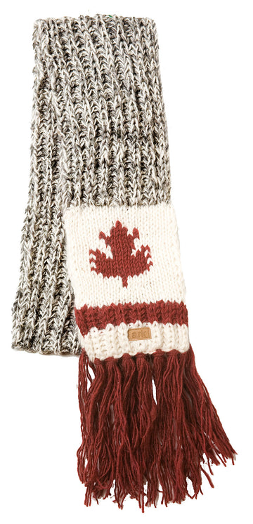 WOOL CABIN SCARF WITH MAPLE LEAF