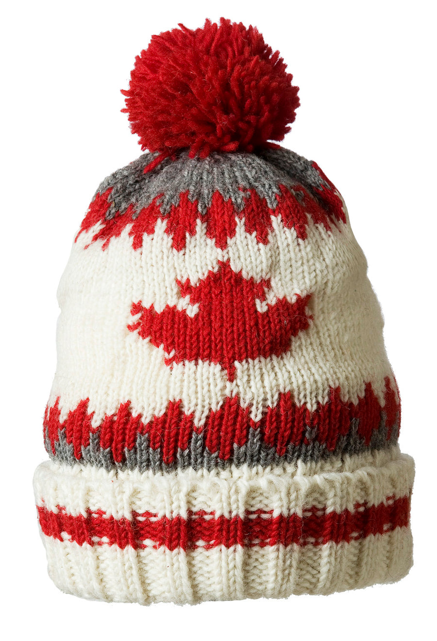 WOOL TOQUE WITH MAPLE LEAF AND POM POM