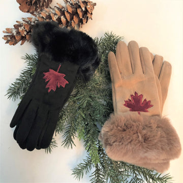SUEDE LOOK MAPLE LEAF GLOVES