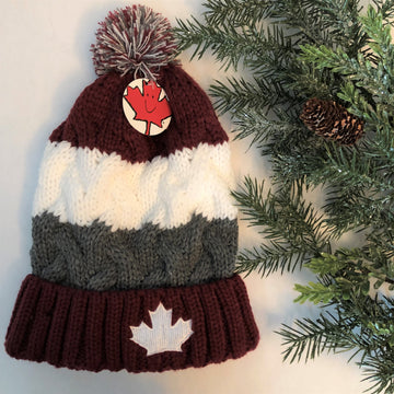 CABLE KNIT MAPLE LEAF STRIPE TOQUE