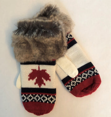 FUR TRIMMED MAPLE LEAF MITT