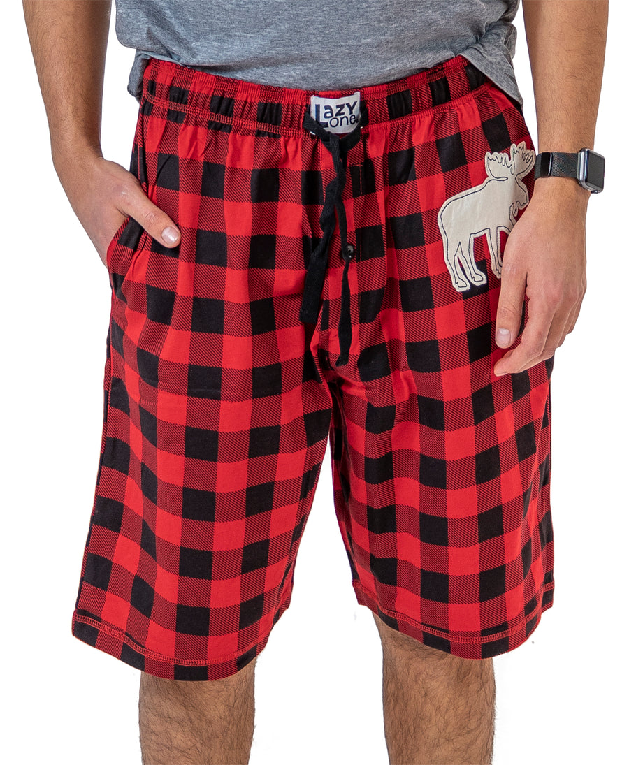 LAZY ONE MOOSE PLAID ADULT SHORTS
