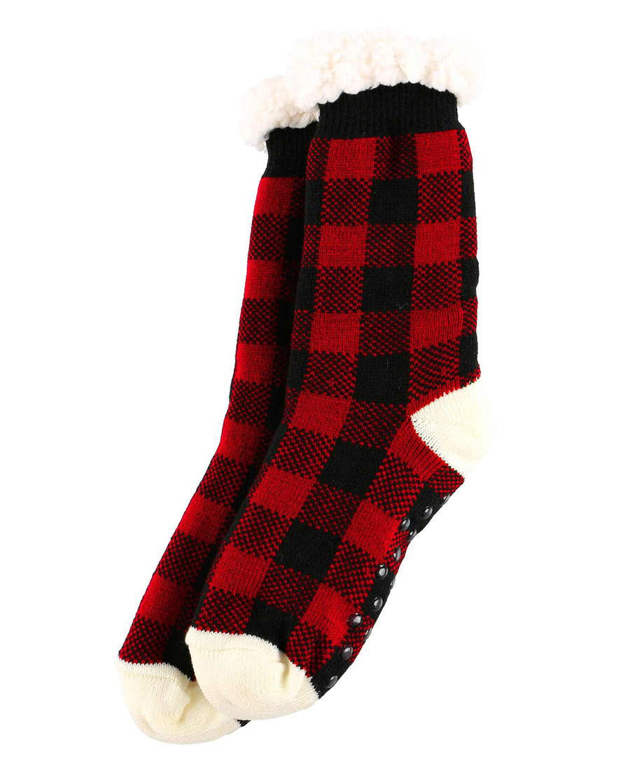 LAZY ONE MOOSE PLAID PLUSH SOCKS