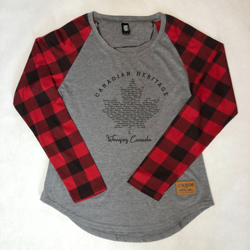 PLAID LONG SLEEVE RAGLAN WOMEN'S SHIRT