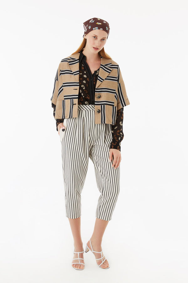 Exquise Jacket Linen Stripe Beige - Wardrobe Fashion