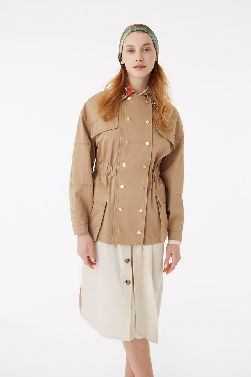 Exquise Jacket Classic Zipper Camel